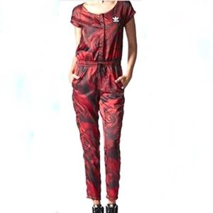Adidas Red Clash Rose And Camo Jumpsuit
